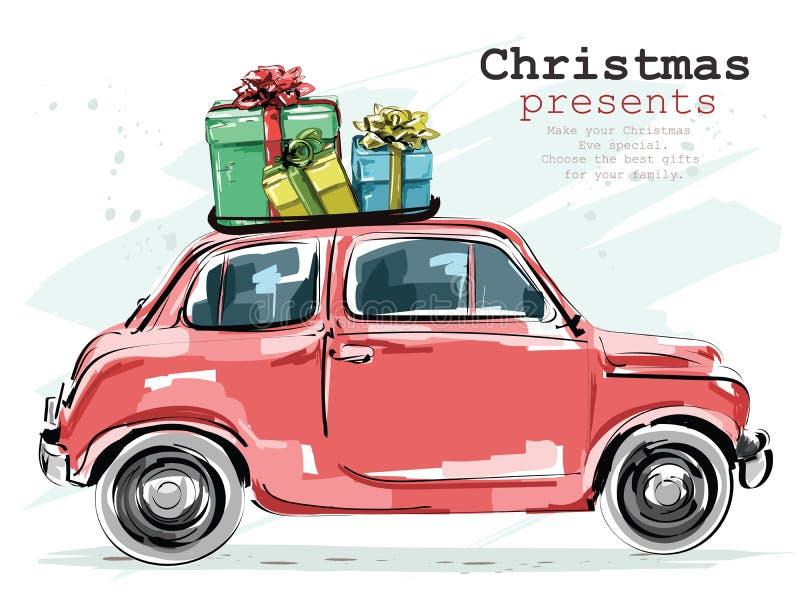 Modieuze retro auto met Kerstmisgiften Hand getrokken rode auto schets vector illustratie