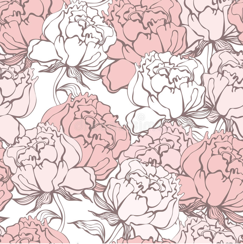 Modieuze Rose Flowers Seamless Background stock illustratie
