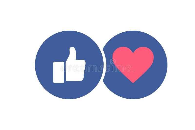 Modieuze sociale media pictogrammen - als en hart Duim omhoog en rood hart in blauwe cyrcles Vector illustratie royalty-vrije illustratie