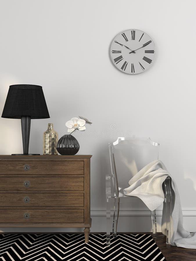 Modieuze transparante stoel dichtbij de ladenkast stock afbeeldingen