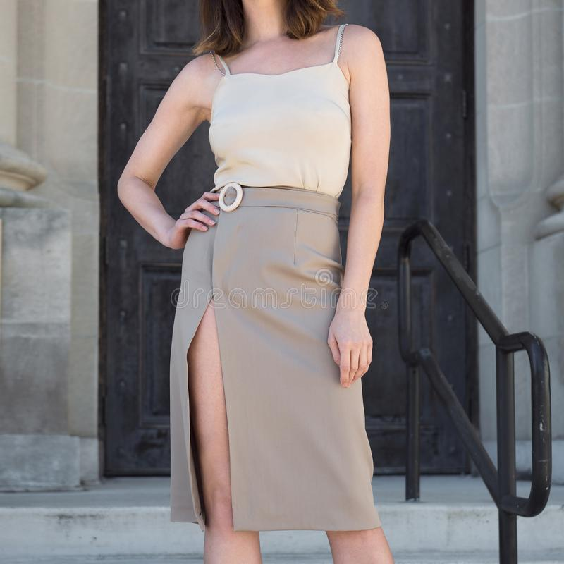 Modieuze vrouwelijke van de de bedrijfs zomerlente toevallige uitrusting met de de grijze rok en blouse van de omslagtulp stock afbeeldingen