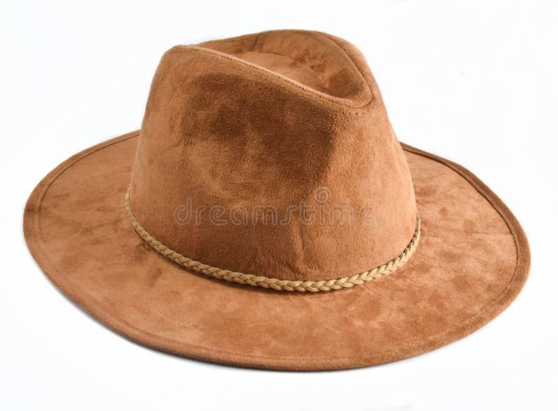Modieuze vrouwelijke vilten die hoed op witte achtergrond wordt geïsoleerd De hoeden van de de herfstlente royalty-vrije stock foto