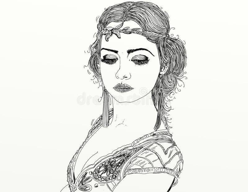 Modieuze vrouwenschets royalty-vrije illustratie