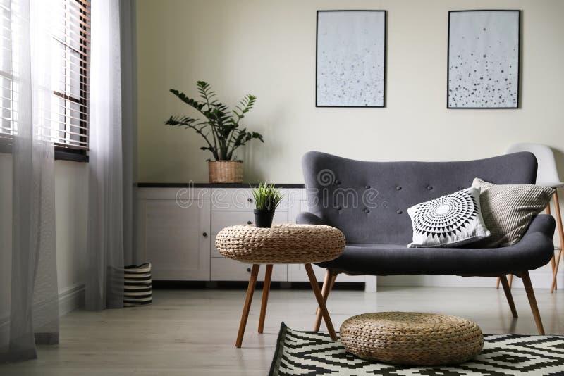 Modieuze woonkamer met modern meubilair en modieus decor stock fotografie