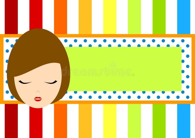 Modifica del blocco per grafici del Rainbow con il fronte della ragazza royalty illustrazione gratis