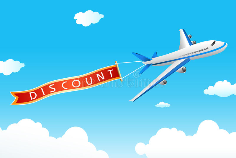 Modifica di sconto con l'aereo illustrazione di stock