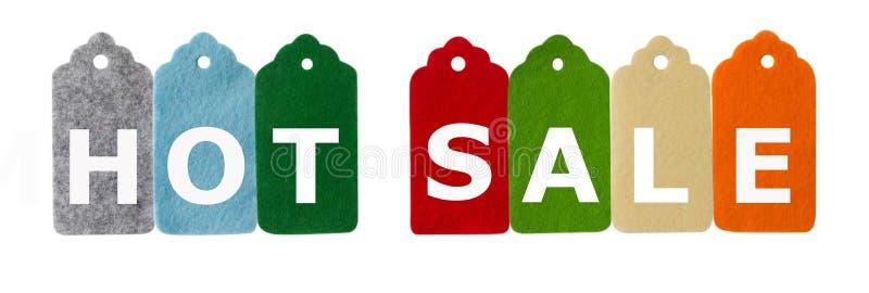 Modifiche di vendita Tempo di acquisto Etichette del regalo, isolate su fondo bianco immagine stock