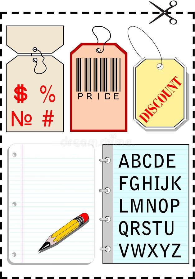 Modifiche, taccuini e blocco per grafici punteggiato con gli sciss royalty illustrazione gratis