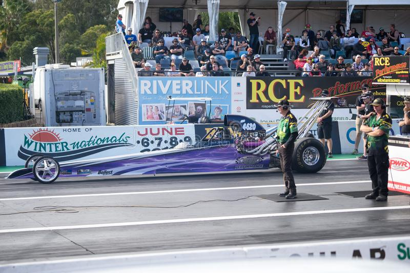 Modified Category 2018 Winternationals Ipswich Australia. A dragster car at the starting line during the celebration of the 2018 Gulf western Oils stock image