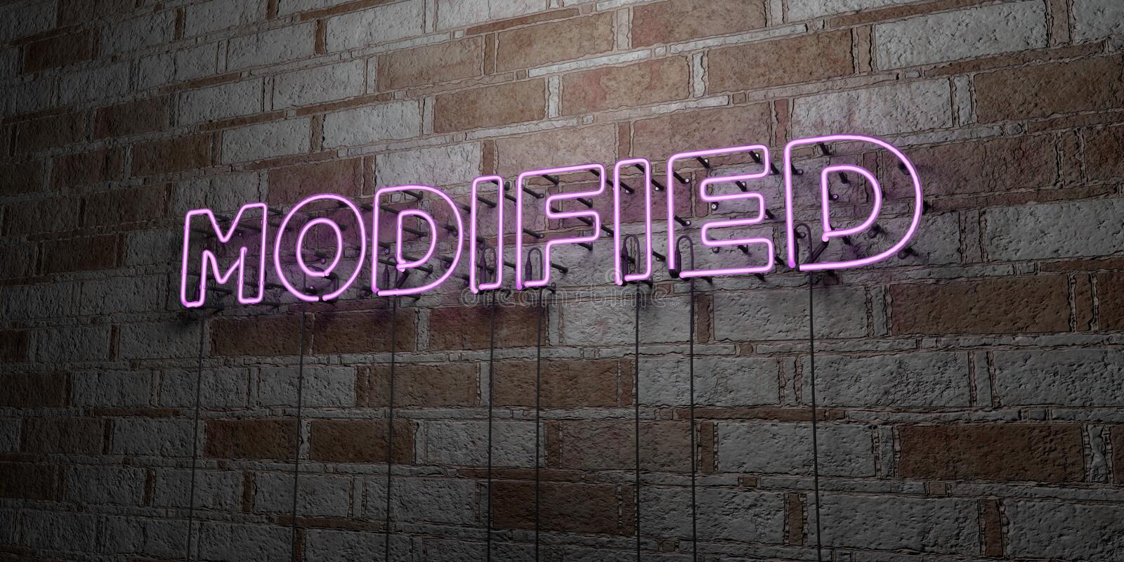 MODIFIED - Glowing Neon Sign on stonework wall - 3D rendered royalty free stock illustration royalty free illustration