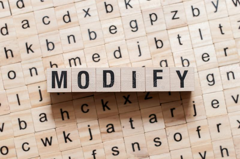 Modify word concept stock images