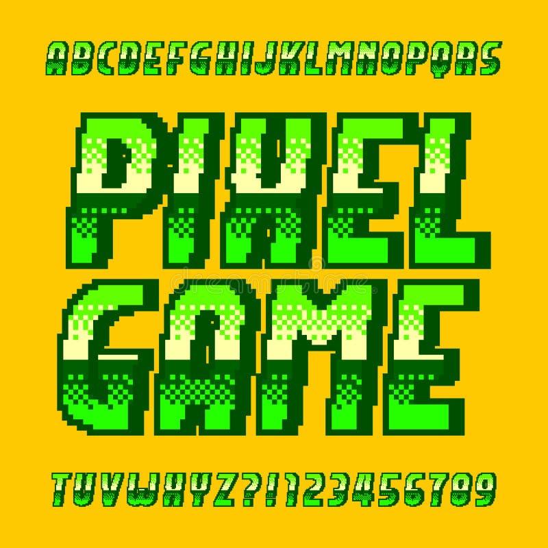 Modig alfabetstilsort f?r PIXEL Digital lutningbokstäver och nummer i grön färg stock illustrationer