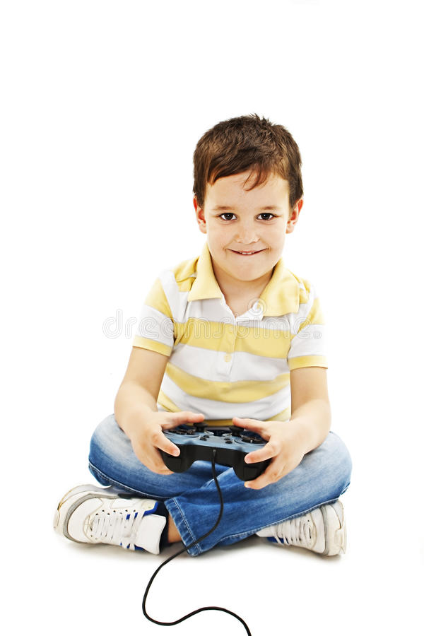 modig användande video för pojkekontrollant royaltyfri foto