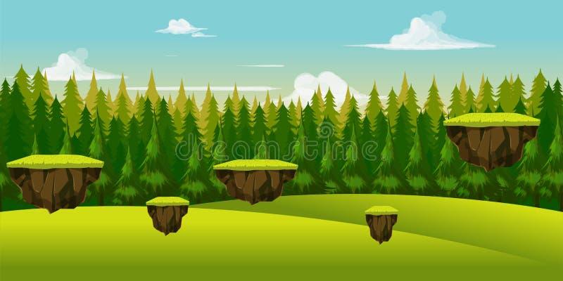 Modig bakgrund för skog och för kulle vektor illustrationer