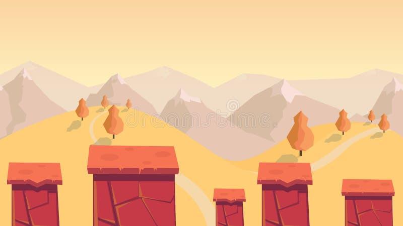 Modig bakgrund för skog och för kulle naturlandskapet med olika plattformar avskilde lager för lekar vektor illustrationer