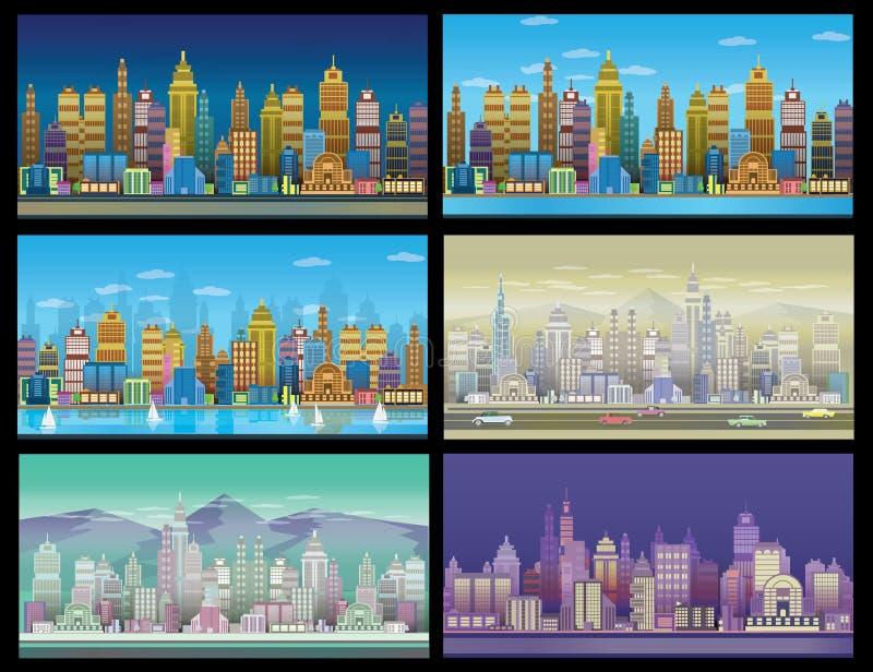 Modig bakgrundsuppsättning för stad Med retro bilar 2d modiga applikation stock illustrationer