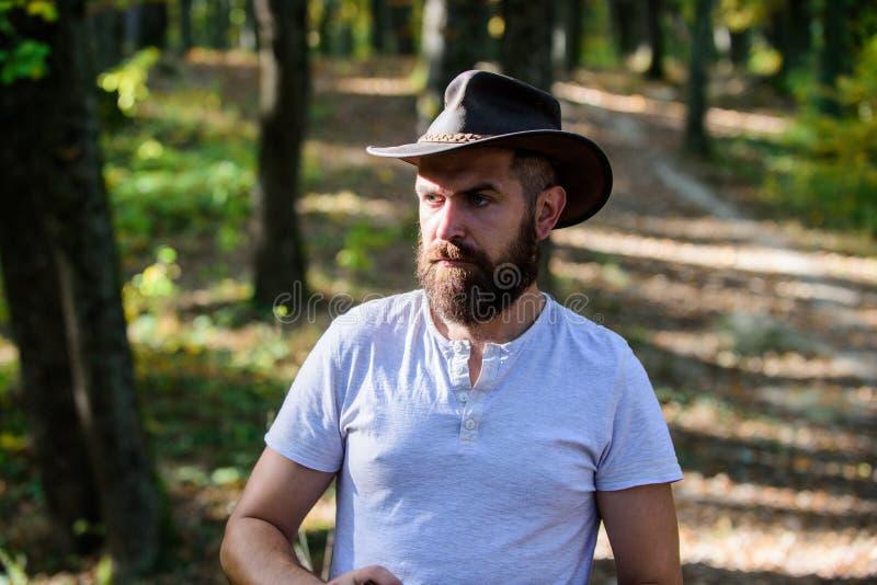 Modig cowboy Campa och fotvandra mogen man med brutal blick Den upps?kte mannen i cowboyhatt g?r parkerar in utomhus- man royaltyfri foto