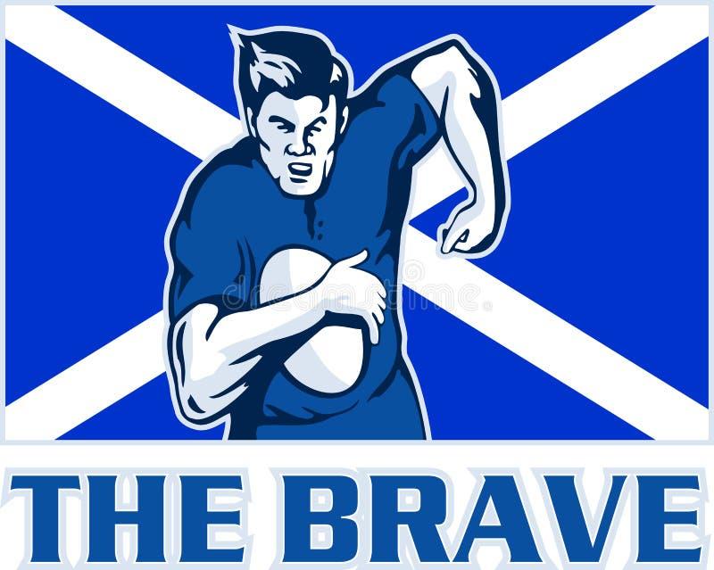 modig flaggaspelarerugby scotland royaltyfri illustrationer