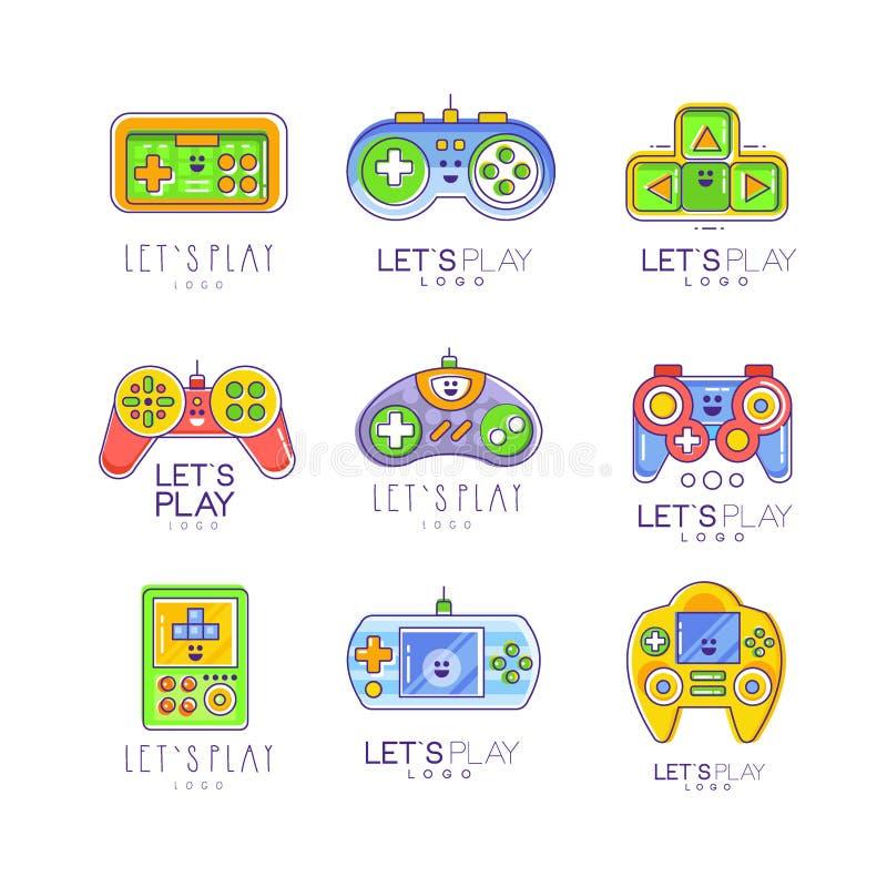 Modig grejsamling i linjen stil Färgrikt gameplay, styrspak som spelar kontrollanten Vektorn lät s-leklogo vektor illustrationer