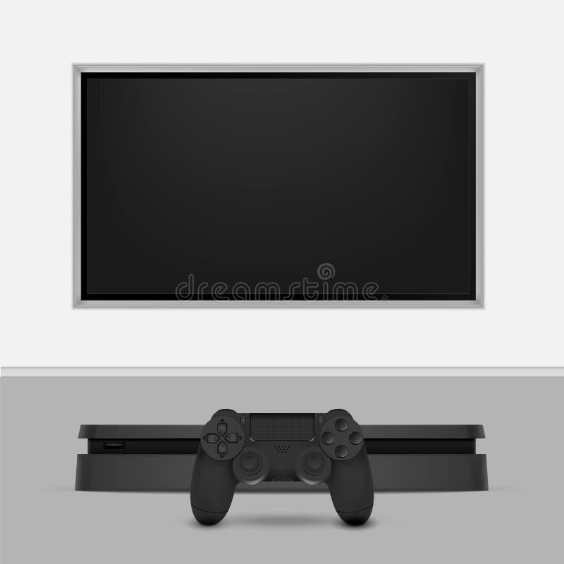 Modig konsol med styrspaken och tv som isoleras på vit bakgrund också vektor för coreldrawillustration stock illustrationer
