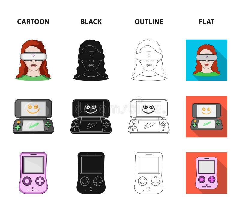 Modig konsol och virtuell verklighettecknad film, svart, översikt, plana symboler i uppsättningsamlingen för design Modig grejvek stock illustrationer