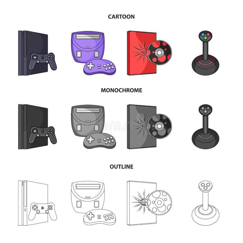 Modig konsol, styrspak och disketttecknad film, översikt, monokromma symboler i uppsättningsamlingen för design Modigt grejvektor vektor illustrationer