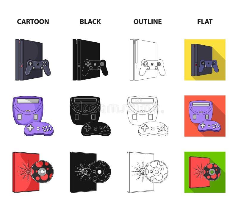 Modig konsol, styrspak och disketttecknad film, svart, översikt, plana symboler i uppsättningsamlingen för design Modigt grejvekt vektor illustrationer