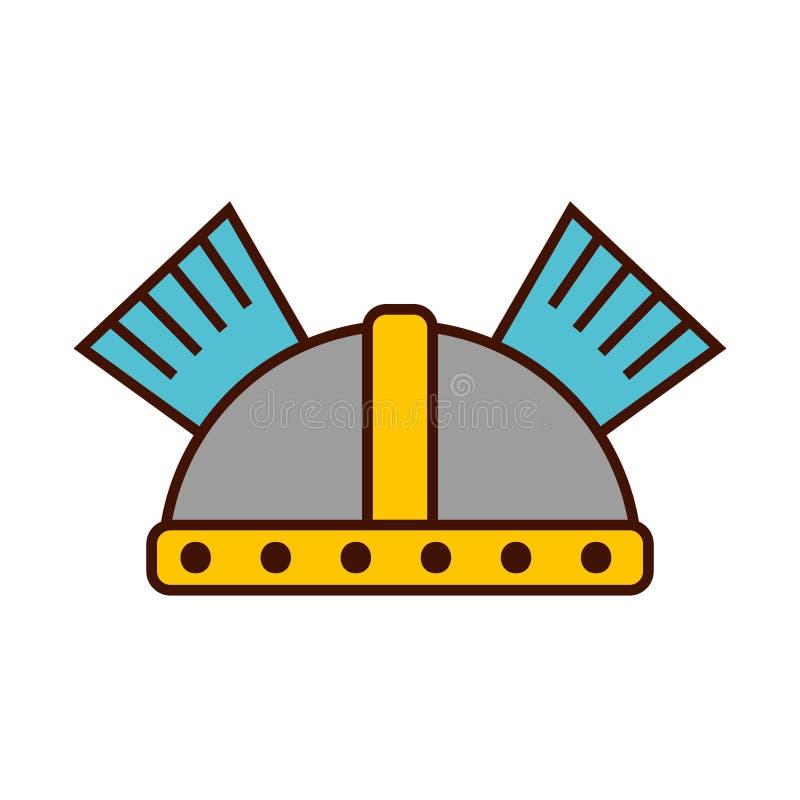 modig krigarehjälmsymbol stock illustrationer