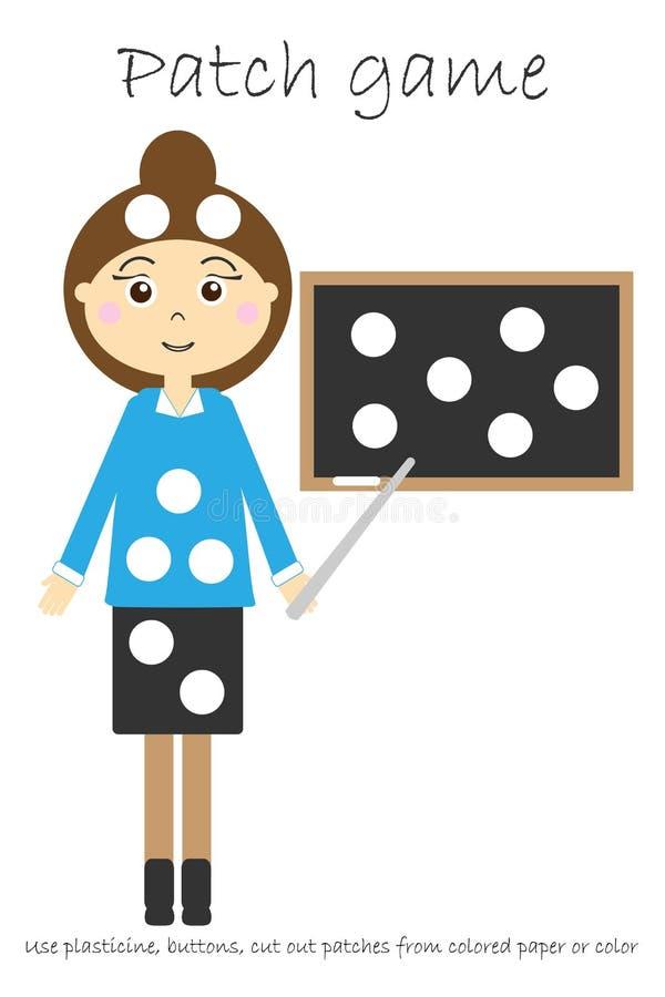Modig lärare för utbildningslapp för att barn ska framkalla motorexpertis, bruksplasticinelappar, knappar, kulört papper eller vektor illustrationer