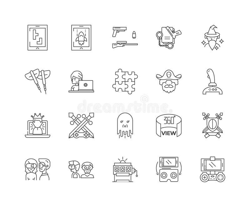 Modig linje symboler, linjärt tecken, vektoruppsättning, översiktsbegreppsillustration stock illustrationer