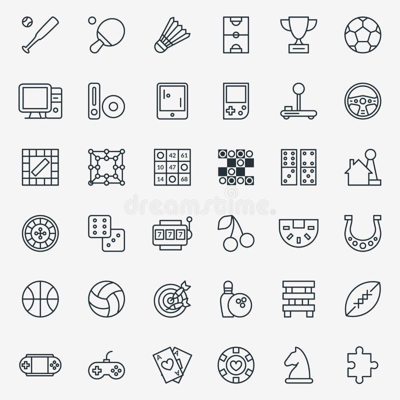 Modig linje symbolsvektoruppsättning royaltyfri illustrationer