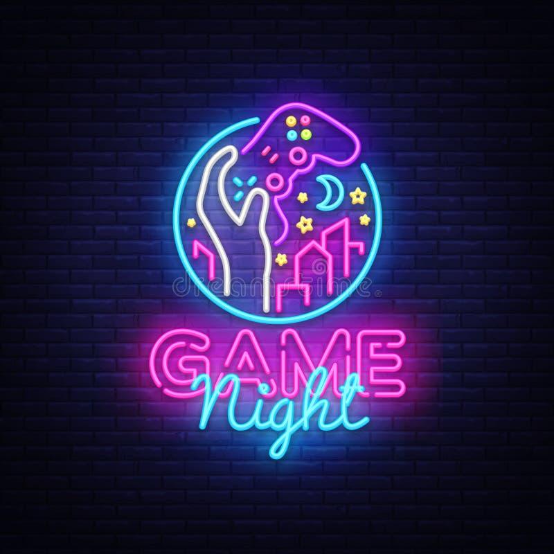 Modig mall för design för logo för vektor för nattneontecken Modig nattlogo i neonstil, gamepad i handen, videospelbegrepp stock illustrationer