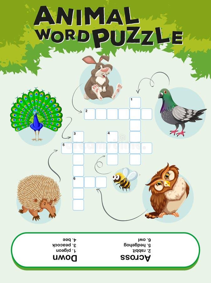 Modig mall för djurt ordpussel vektor illustrationer