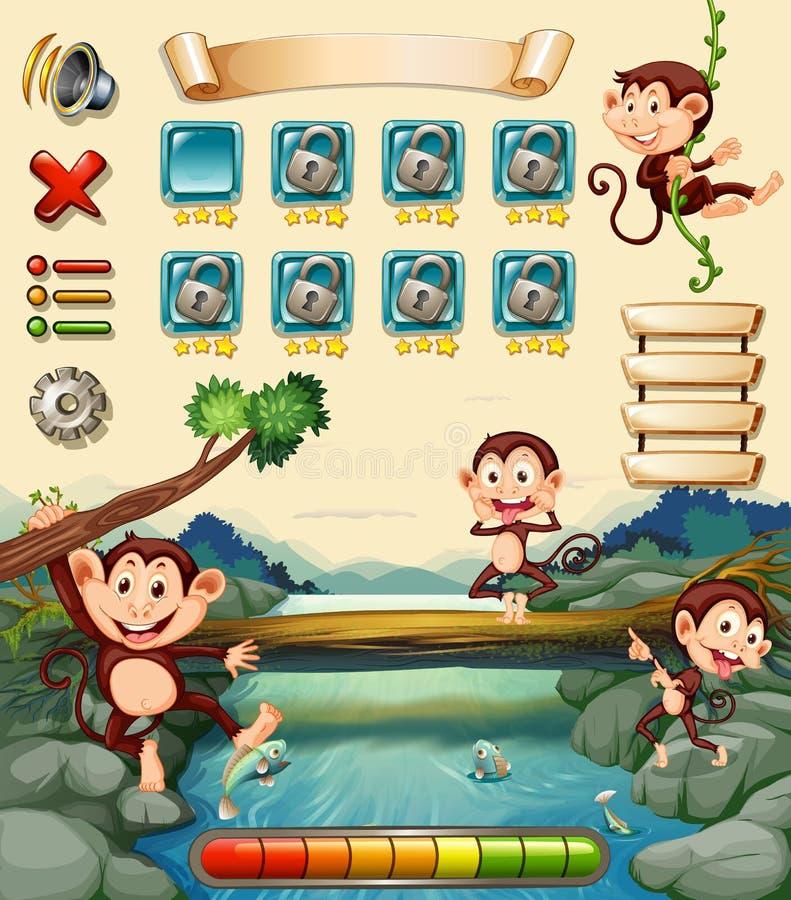 Modig mall med apor vid floden royaltyfri illustrationer