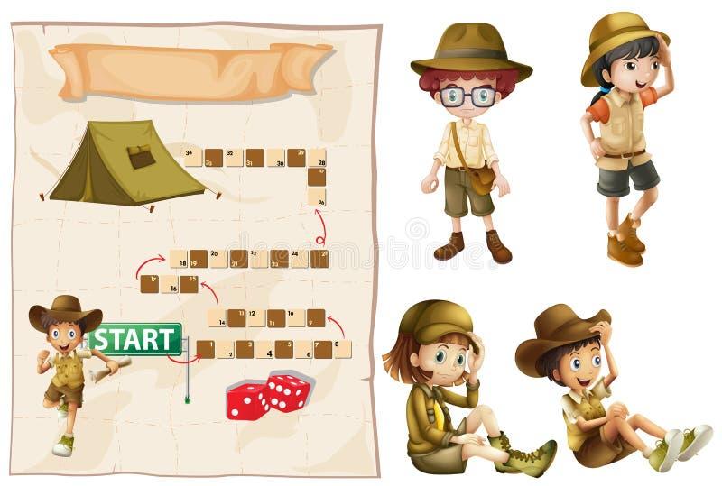 Modig mall med tecken i safaridräkt royaltyfri illustrationer