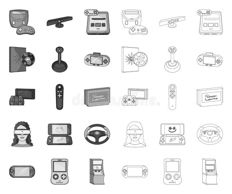 Modig mono konsol och virtuell verklighet, översiktssymboler i den fastställda samlingen för design Modig reng?ringsduk f?r mater vektor illustrationer