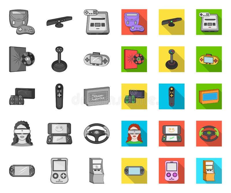 Modig mono konsol och virtuell verklighet, plana symboler i den fastställda samlingen för design Modig reng?ringsduk f?r materiel royaltyfri illustrationer