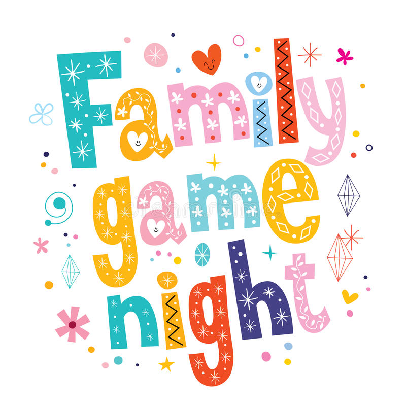 Modig natt för familj royaltyfri illustrationer