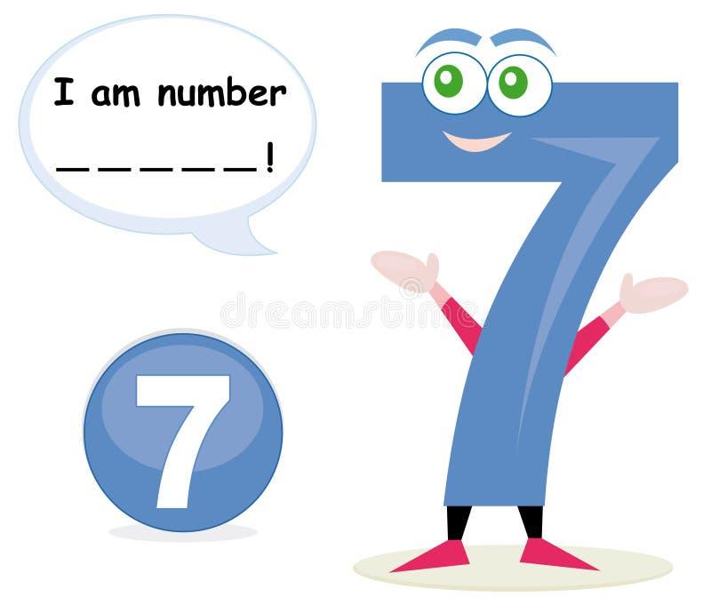 modig nummerquiz sju royaltyfri illustrationer