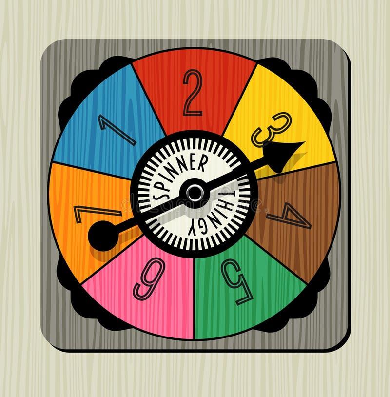Modig spinnare för tappning med nummer och pilen stock illustrationer