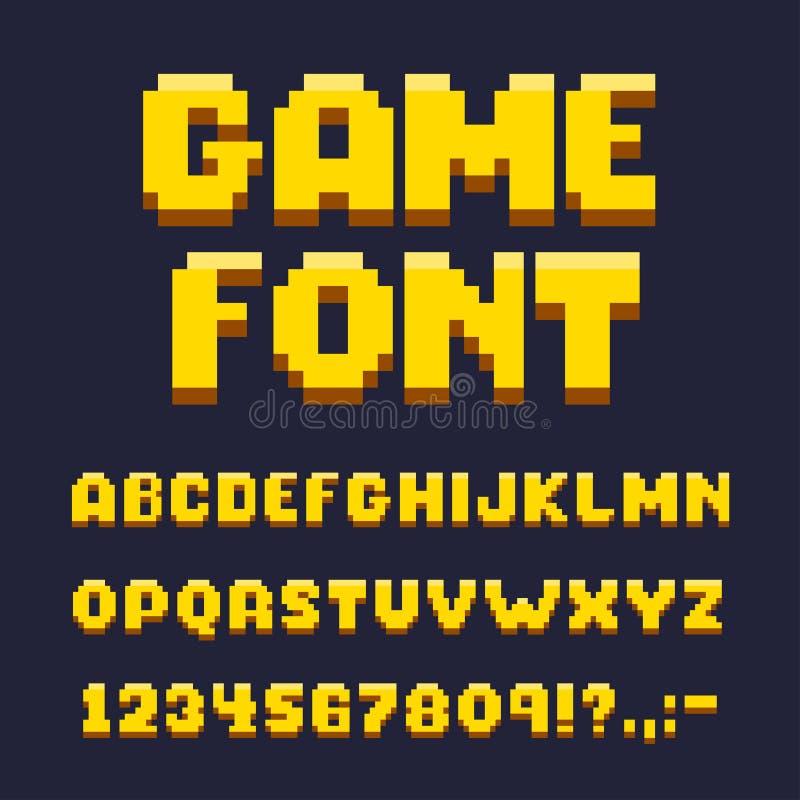Modig stilsortsuppsättning för PIXEL, text och typografibeståndsdelar stock illustrationer