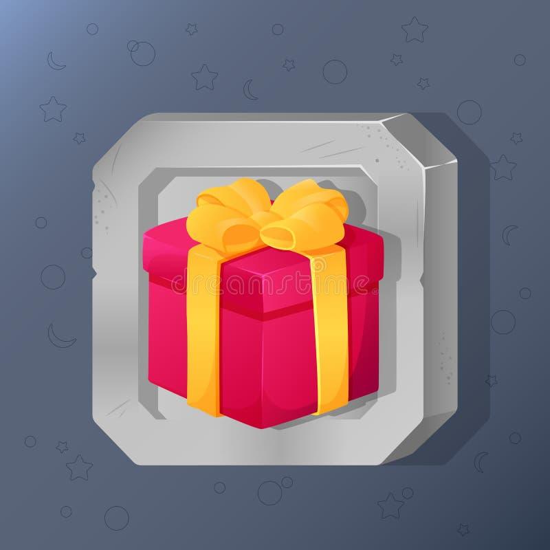 Modig symbol av den närvarande asken med pilbågen i tecknad filmstil Ljus design för app-användargränssnitt Dold gåva för överras stock illustrationer