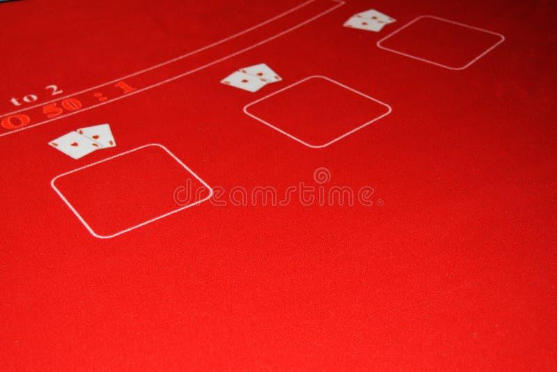 Modig tabell som täckas med den röda torkduken för kasinot som spelar, två par av överdängare, begreppet av lycka, lyx, rikedom,  royaltyfria foton