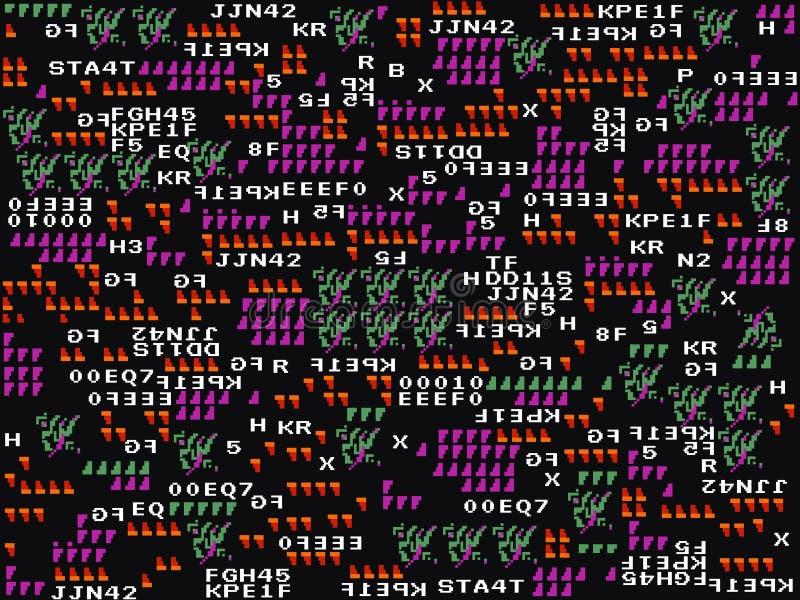 Modig tekniskt felbakgrund Abstrakta symboler och former på den mörka bakgrunden modern design Spela tapeten Gyckel för gammal sk stock illustrationer