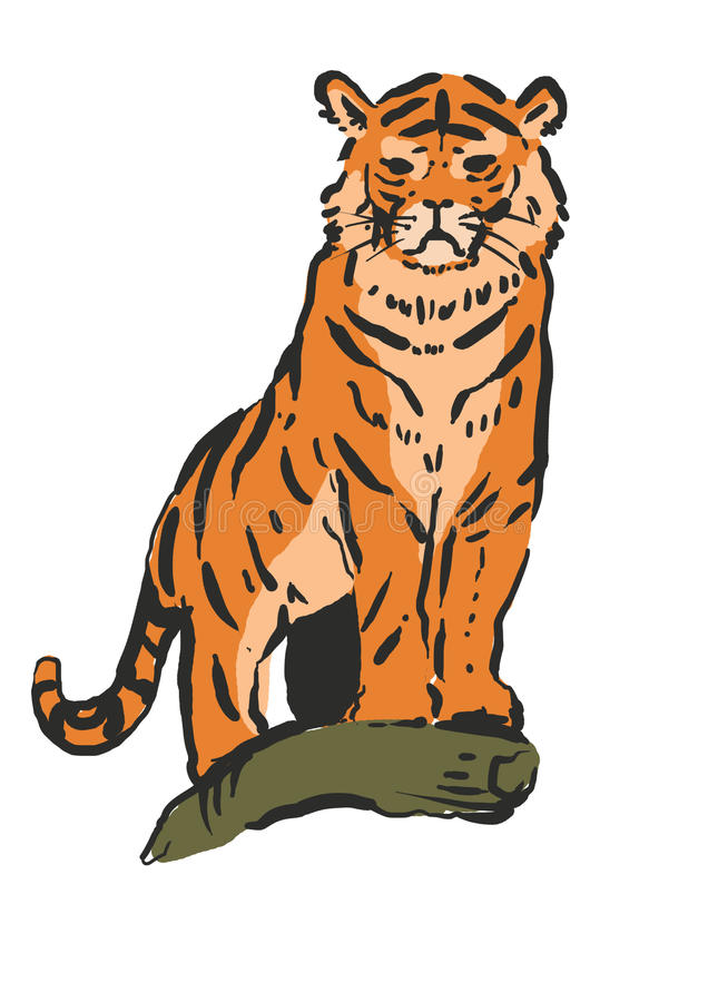 modig tiger vektor illustrationer