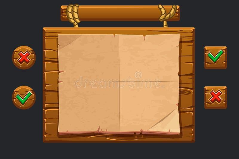 Modig uisats för vektor Mallträmeny av grafisk användargränssnittGUI som bygger 2D lekar Knappar stänger sig och bekräftar vektor illustrationer