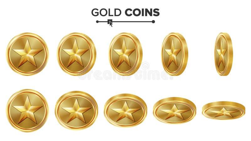 Modig vektor för guld- mynt 3D med stjärnan Flip Different Angles Prestationmyntsymboler, tecken, framgång, vinnare, bonus, kassa vektor illustrationer