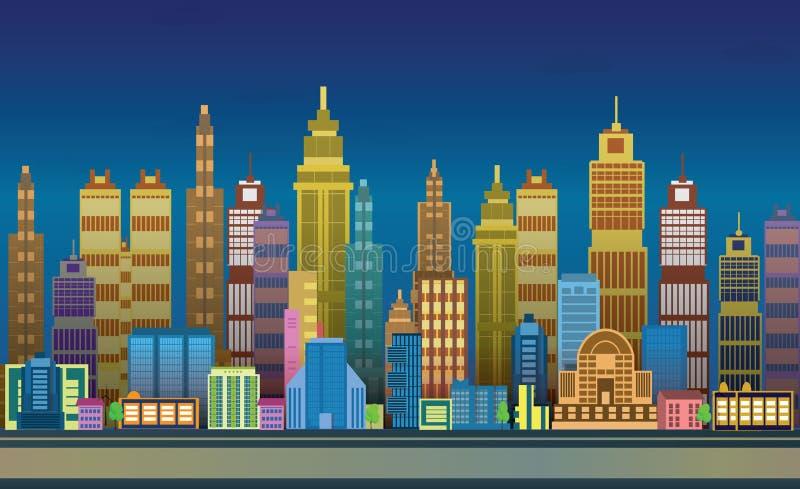 Modiga bakgrunder för stad, 2d modiga applikation royaltyfri illustrationer