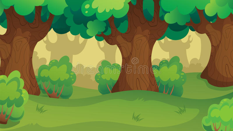 Modiga Forest Oakwood Landscape royaltyfri illustrationer