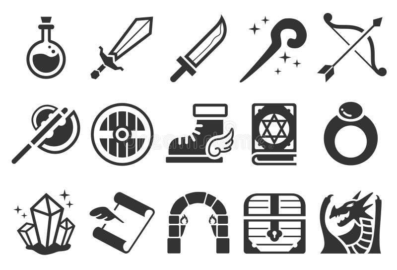 Modiga RPG-symboler royaltyfri illustrationer